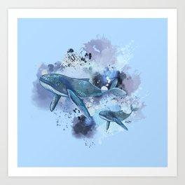 Swimming whales digital artwork prints Art Print