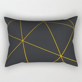 Dark low poly displaced surface with glowing lines Rectangular Pillow