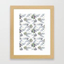 Backyard Succulents - White/Green Framed Art Print