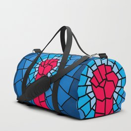 Church of the Revolution / Fist raised in protest on stained glass window Duffle Bag