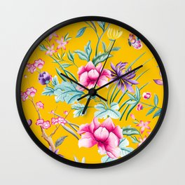 Chinoiserie floral pattern in yellow Wall Clock