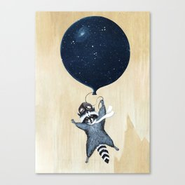 Raccoon Balloon Canvas Print
