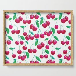 Watercolour Cherries | White Background Serving Tray