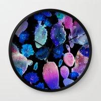 cactus Wall Clocks featuring CACTUS by Burcu Korkmazyurek