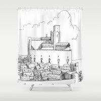 castle Shower Curtains featuring Castle by Mr.Willow