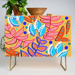 Whimsical Leaves Pattern Credenza