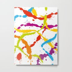 Splattered Rainbow [WHITE] Metal Print