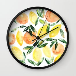 Sicilian orchard: lemons and oranges in watercolor, summer citrus Wall Clock