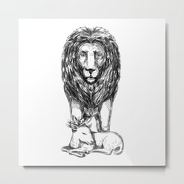 Lion Guarding Lamb Tattoo Metal Print