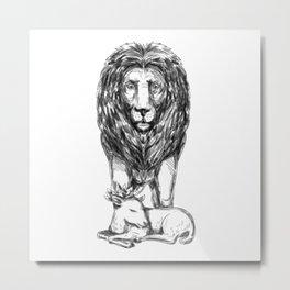 Lion Guarding Lamb Tattoo Metal Print