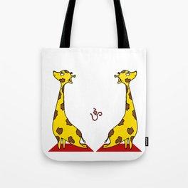 Giraffe Practicing Yoga - OM Tote Bag