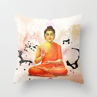buddha Throw Pillows featuring Buddha by O. Be