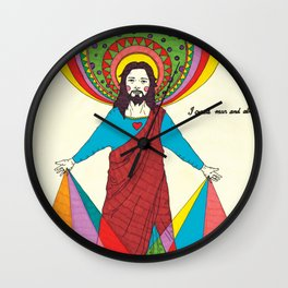 Jesus create man and alien Wall Clock