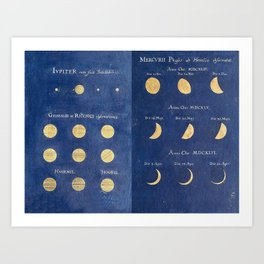 17th-Century Astronomical Art by Maria Clara Eimmart: Phases of Jupiter and Mercury Art Print