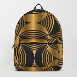 Luxury feminine pink and gold geometric outline shapes illustration pattern. Retro 70s chic mood repeatable motif Backpack