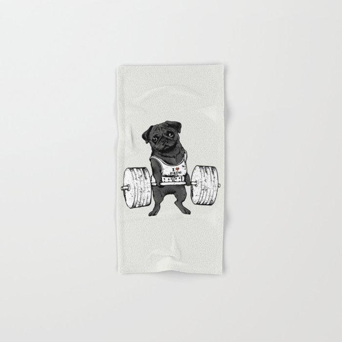 Black Pug Lift Hand & Bath Towel