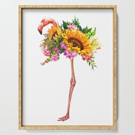 Flamingo with Sunflowers Crown Serving Tray