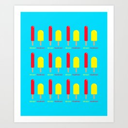 Red Lolly Yellow Lolly (blue) Art Print