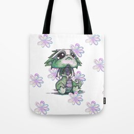 Baby Dragon with Flowers Tote Bag
