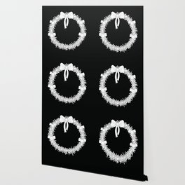 Abstract white and black wreath with bows and bells Wallpaper