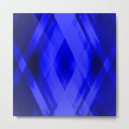 Hot triangular strokes of intersecting sharp lines with cornflower triangles and stripes. Metal Print