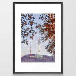 Seoul Tower Fall Framed Art Print