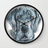 great dane Wall Clocks featuring Baden // Blue Great Dane by ali_grace_gal