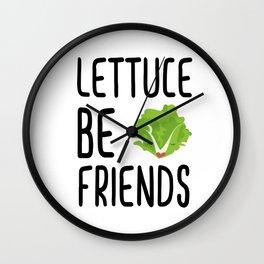 Lettuce Be Friends #lettuce #illustration #veggie #vegan #friends #green #veggiegift Wall Clock