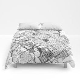 Vintage Map of San Jose California (1886) BW Comforters