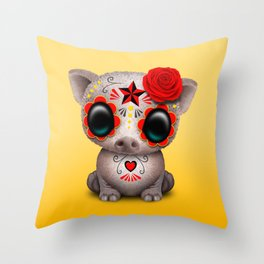 Red Day of the Dead Sugar Skull Baby Pig Throw Pillow