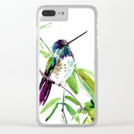 Hummingbird and Green Foliage Clear iPhone Case