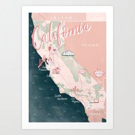 California Road Trip Map Art Print