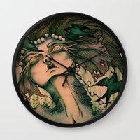 siren Wall Clocks featuring Siren by JenniferLove