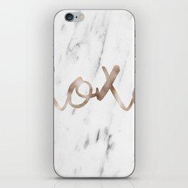 Rose gold marble XOXO iPhone Skin