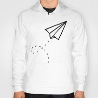 plane Hoodies featuring Paper Plane by Leah Flores