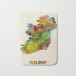 Ireland Eire Watercolor Map Bath Mat