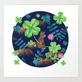 Pattern- Rabbit with clovers and leaves Art Print