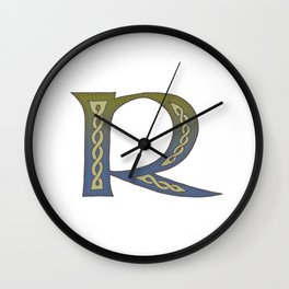 Celtic Knotwork Alphabet - Letter R Wall Clock
