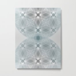 Colliding Circles in Teal and Grey Metal Print