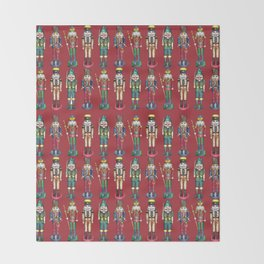The Nutcracker Prince Pattern Red Throw Blanket