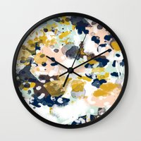 girls Wall Clocks featuring Sloane - Abstract painting in modern fresh colors navy, mint, blush, cream, white, and gold by CharlotteWinter