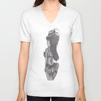 burlesque V-neck T-shirts featuring burlesque baby by Scenccentric Creations