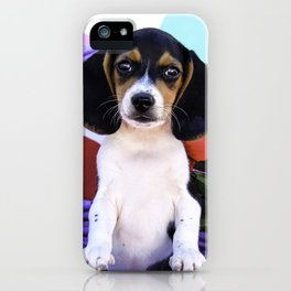 Beagle Puppy Standing in a Purple Basket Surrounded by Red Roses in front of Rainbow Hearts iPhone Case