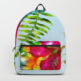 Electric Pop Tropical Flowers Backpack