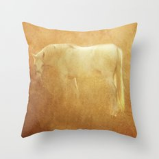 Horse and autumn field Throw Pillow