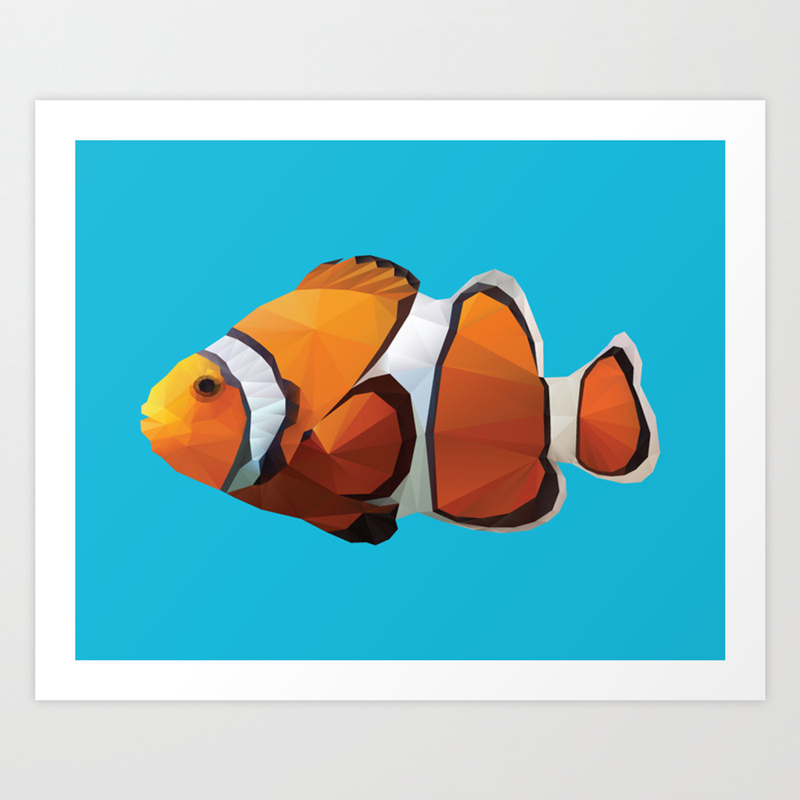 Clown Fish Polygon Art Art Print By Polymolystudio Society6
