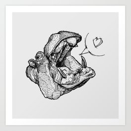 Hippos need love Art Print