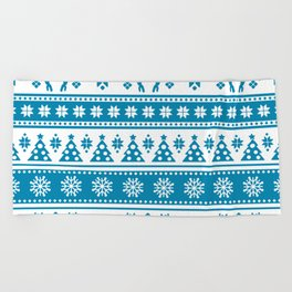 Christmas Holiday Nordic Pattern Cozy Beach Towel