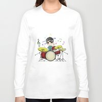 chibi Long Sleeve T-shirts featuring Chibi Drummer by Jelo