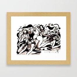 Essaim de guêpes - Illustration encre de Chine Framed Art Print